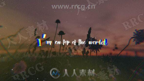 彩色歌词抖动录影带效果标题展示动画AE模板