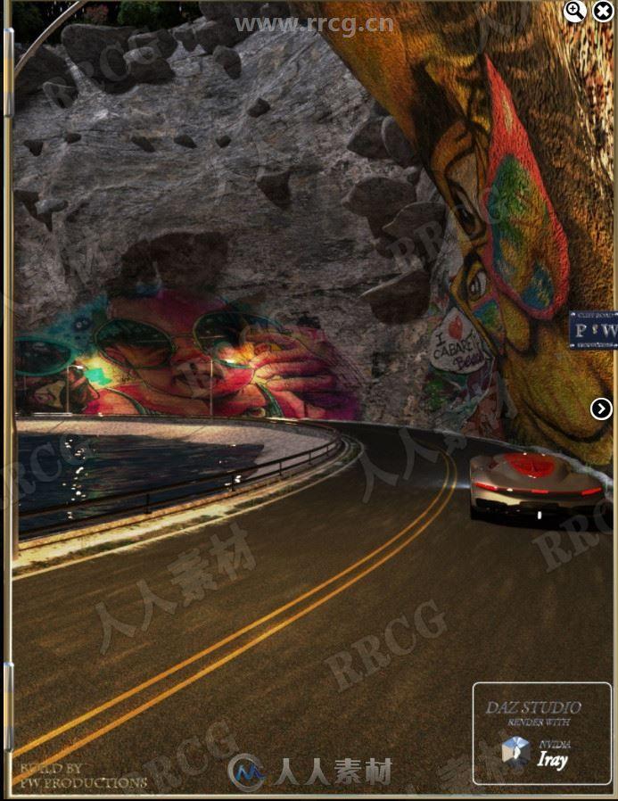 赛车悬崖高速比赛自然景观3D模型合集