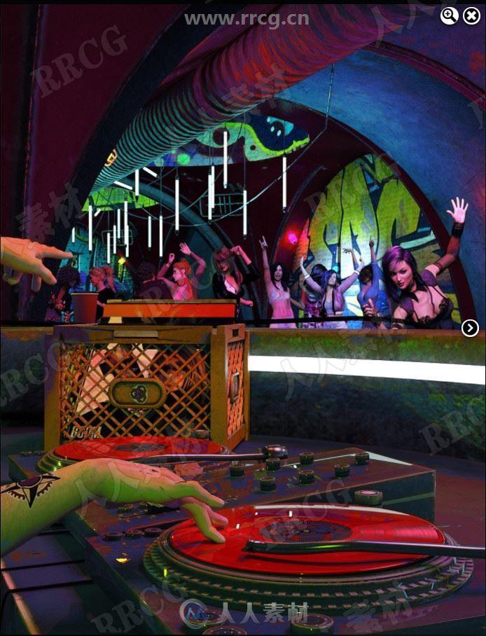 酒吧打碟狂欢派对室内场景3D模型合集