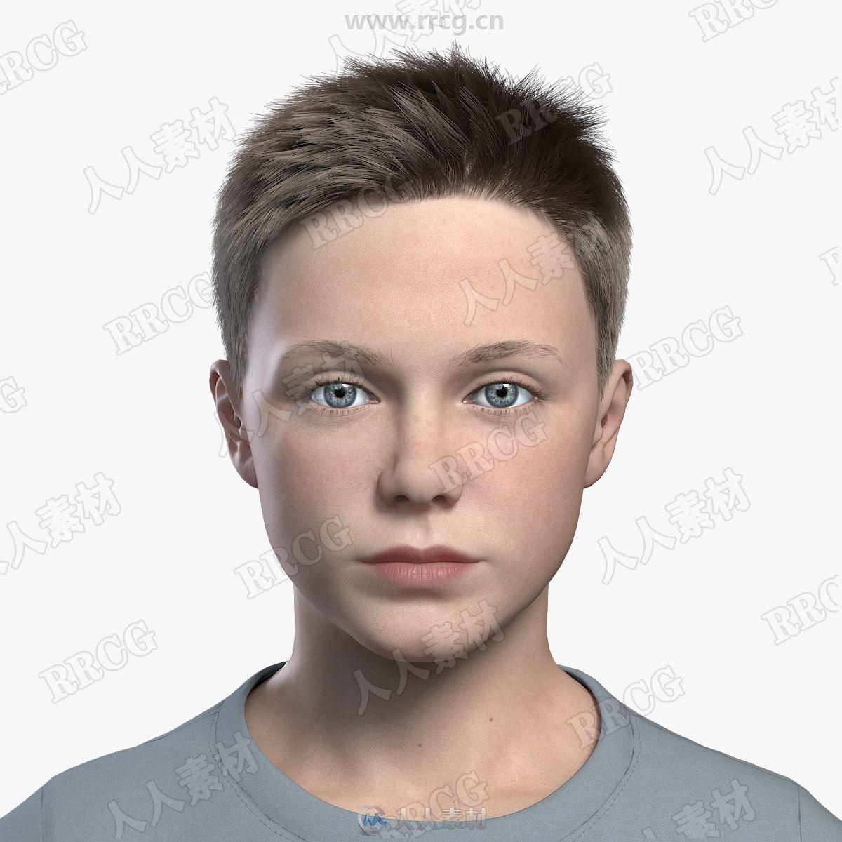 高精度10岁欧美男孩角色完整3D模型