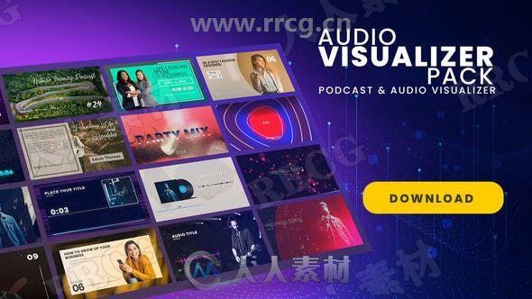 博客和音频可视化工具包展示动画AE模板
