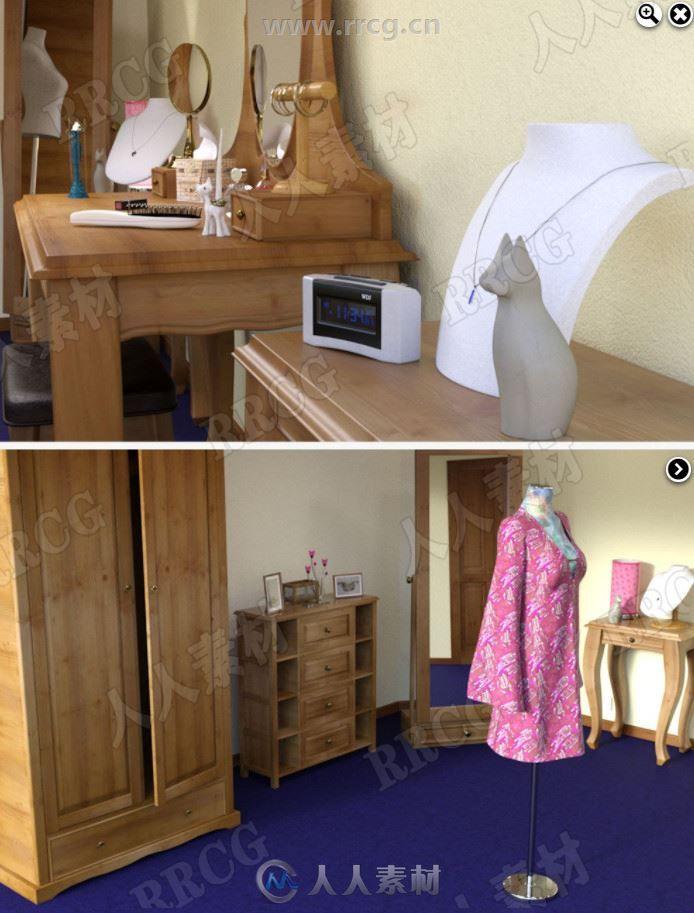 温馨宽敞女性起居室中式风格室内设计3D模型合集