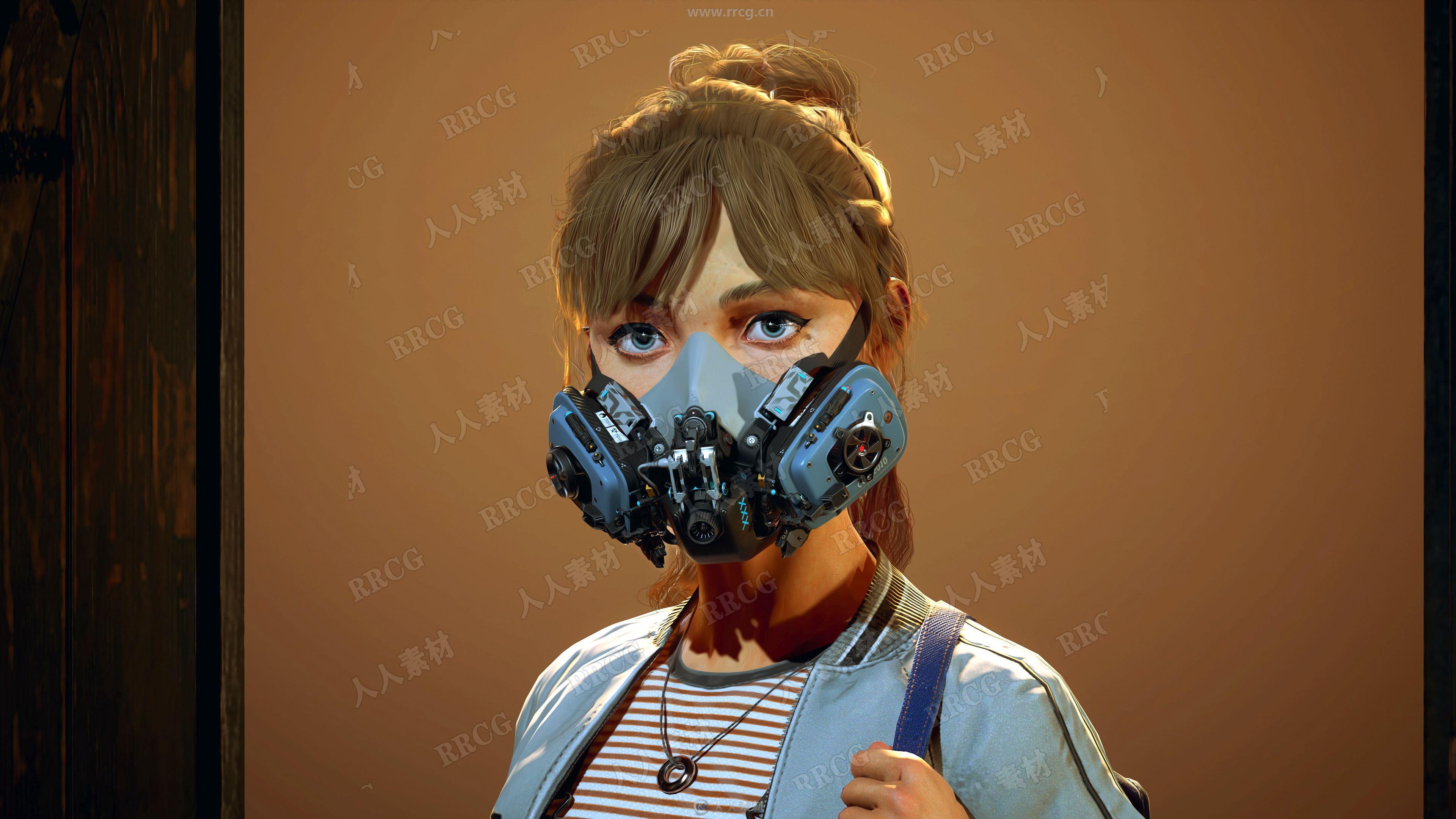 超精致新冠病毒防护女孩高质量3D模型