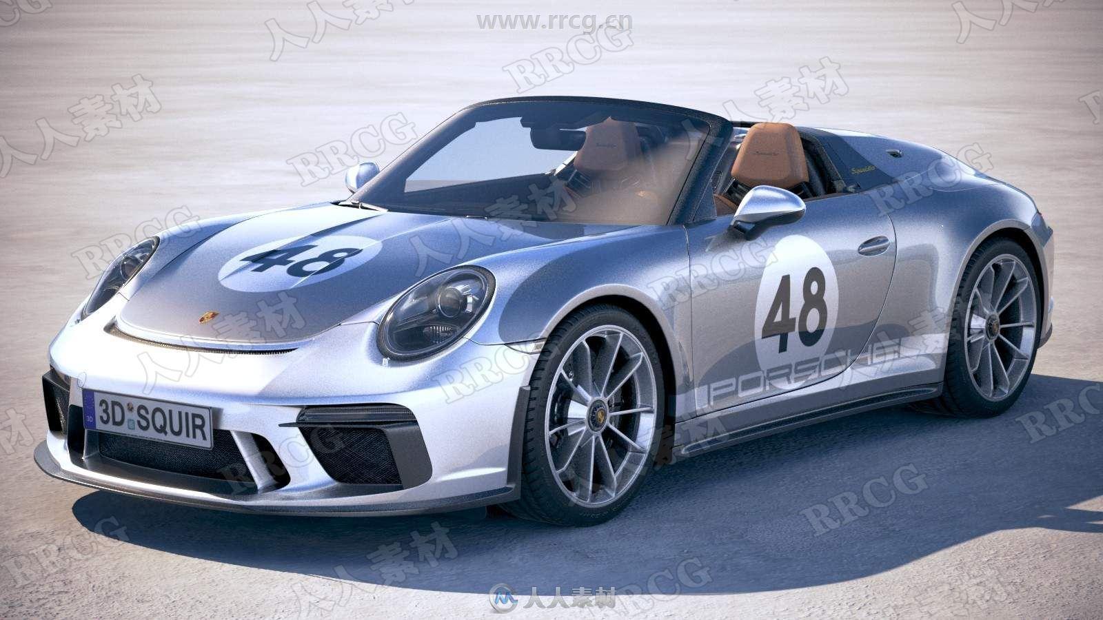 保时捷跑车Porsche 911 Speedster 2019真实汽车高质量3D模型