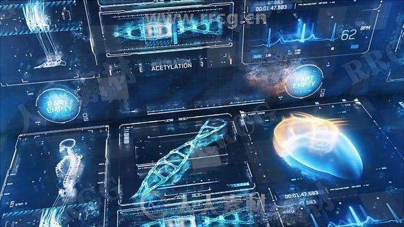 科技感发光平视显示器展示动画AE模板