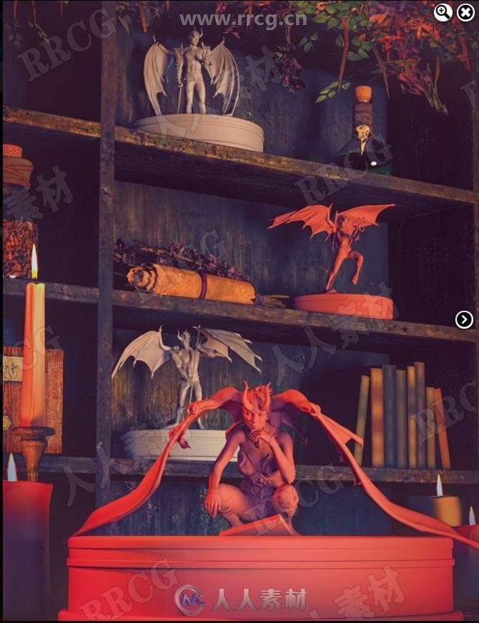 地狱之翼人形蝙蝠形象姿势和道具3D模型合集