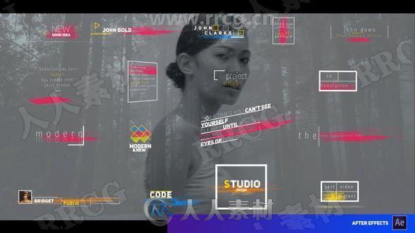 现代高端彩色条纹标题展示动画AE模板