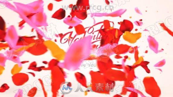 奇妙可爱吹散花瓣效果LOGO动画演绎AE模板
