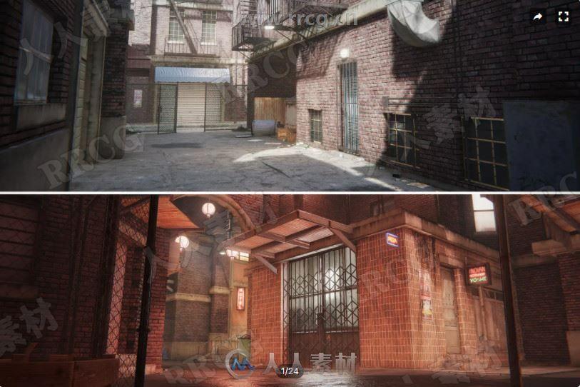 都市街道小巷3D环境场景Unity游戏素材资源