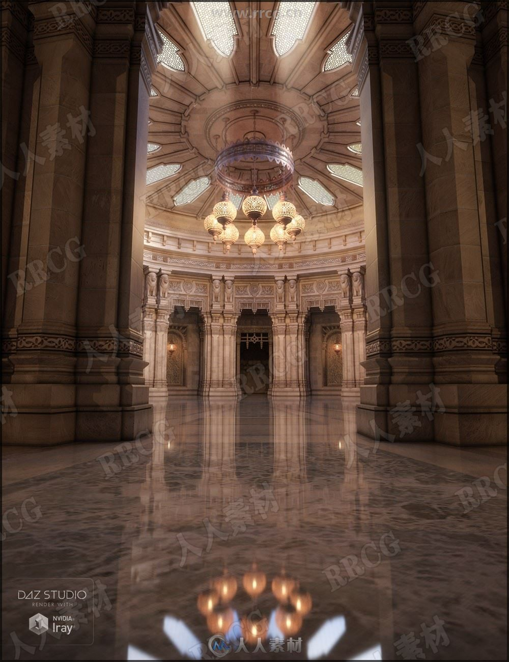 豪华高挑殿堂大厅3D模型合集