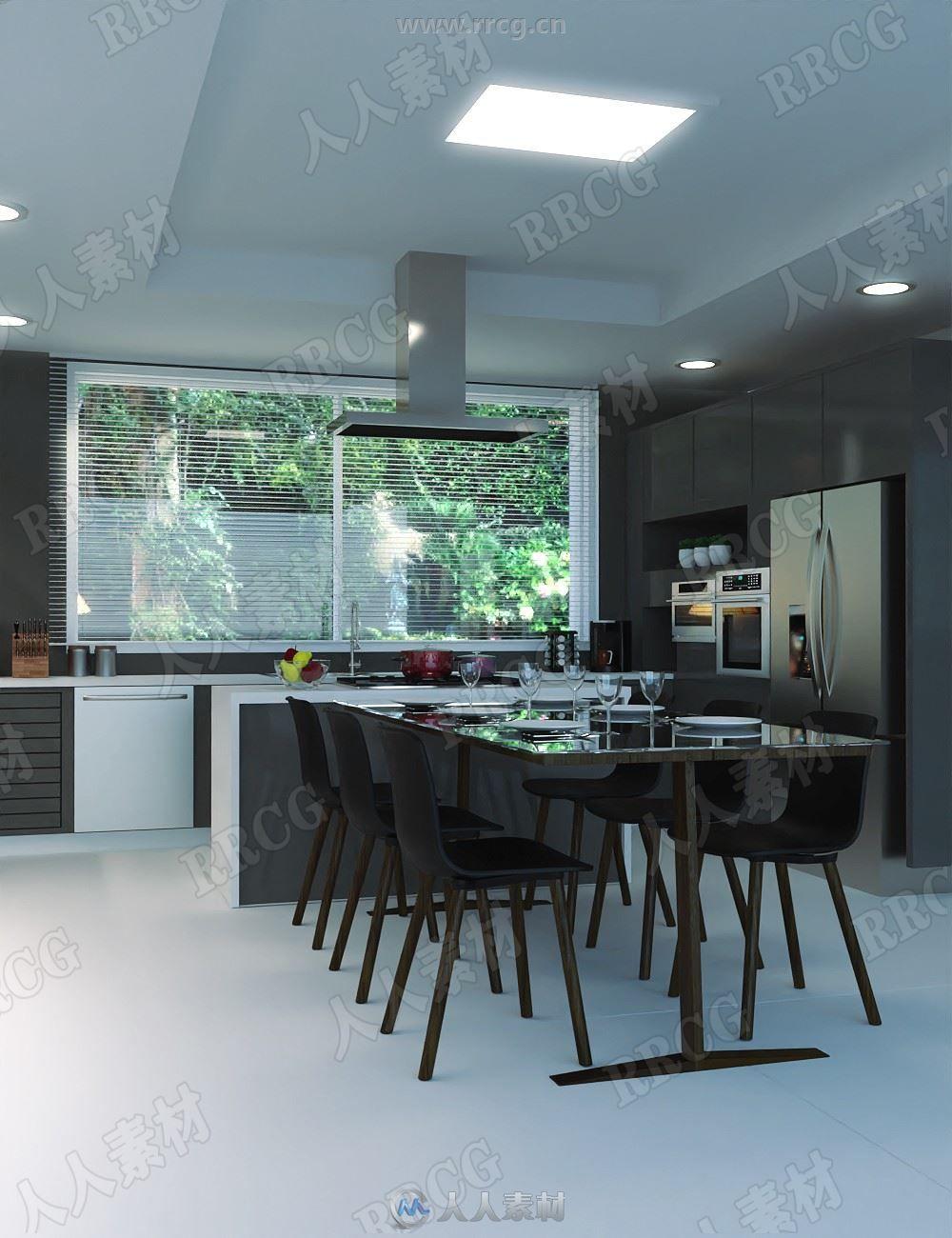 整洁开放式餐厅厨房一体环境3D模型合集