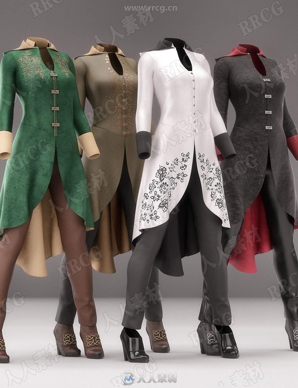 贵族鱼尾旗袍中式服装3D模型合集
