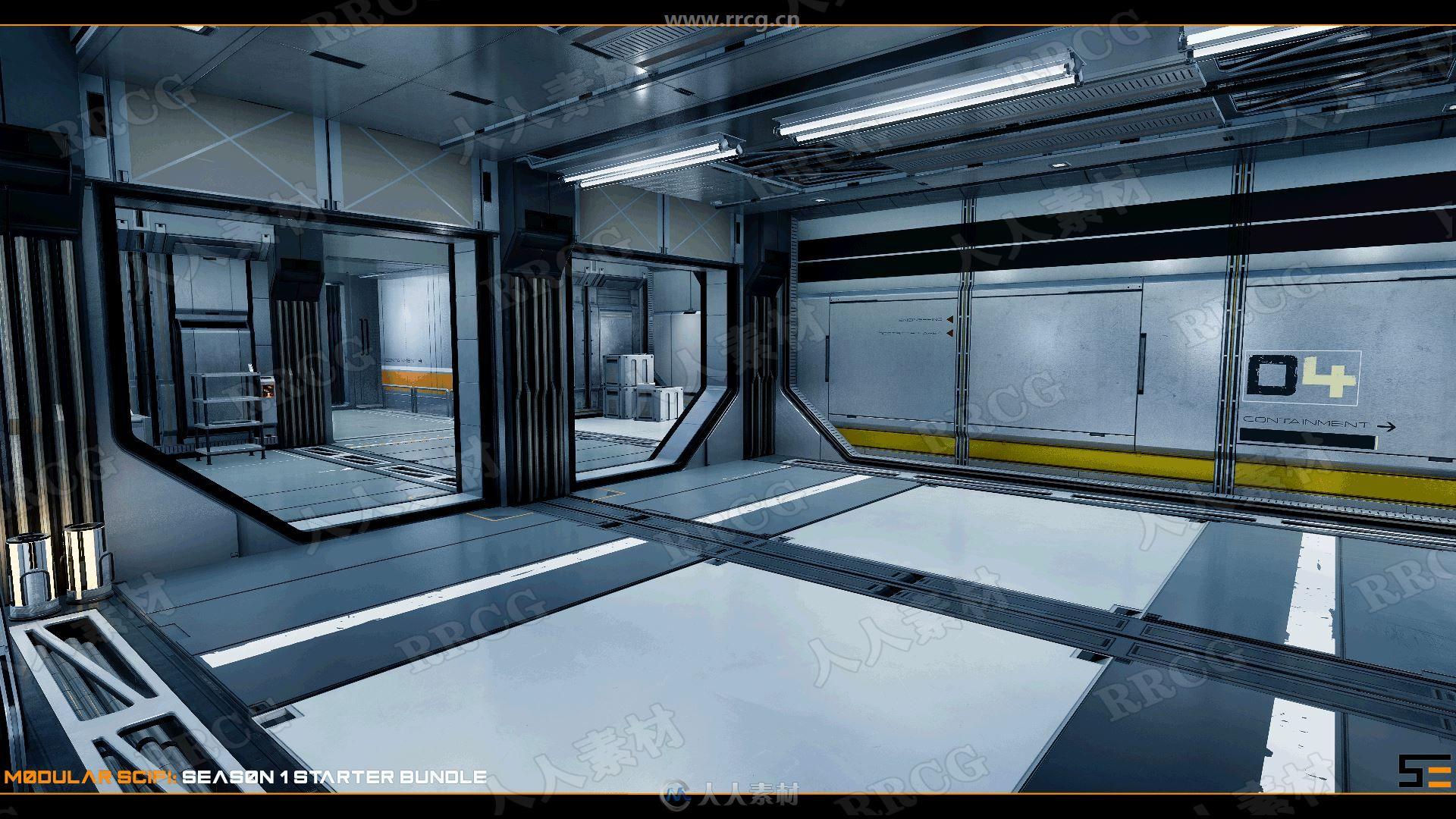 科幻科技感室内走廊场景UE4游戏素材资源