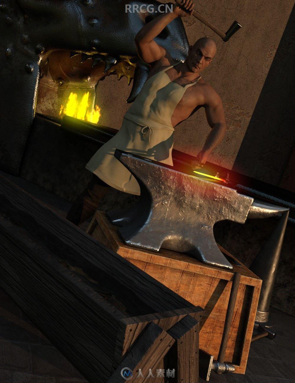 铁匠必备打磨钻凿武器工具3D模型合集