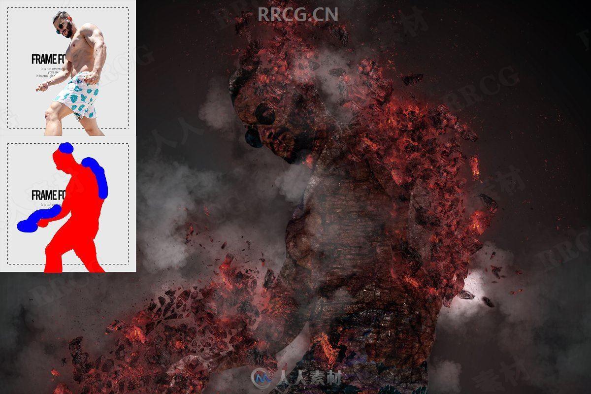 石化燃烧相结合科幻元素人像艺术图像处理特效PS动作