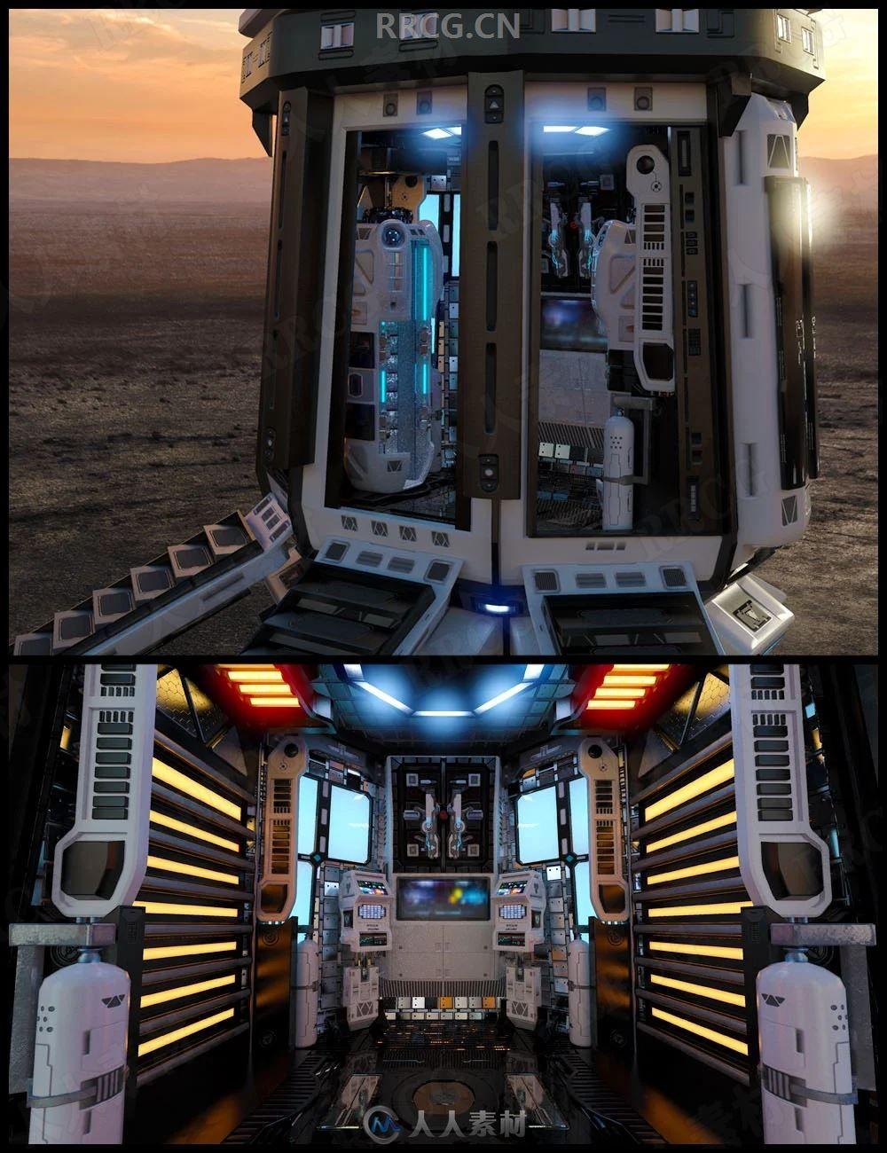 科幻机舱内部场景3D模型合集