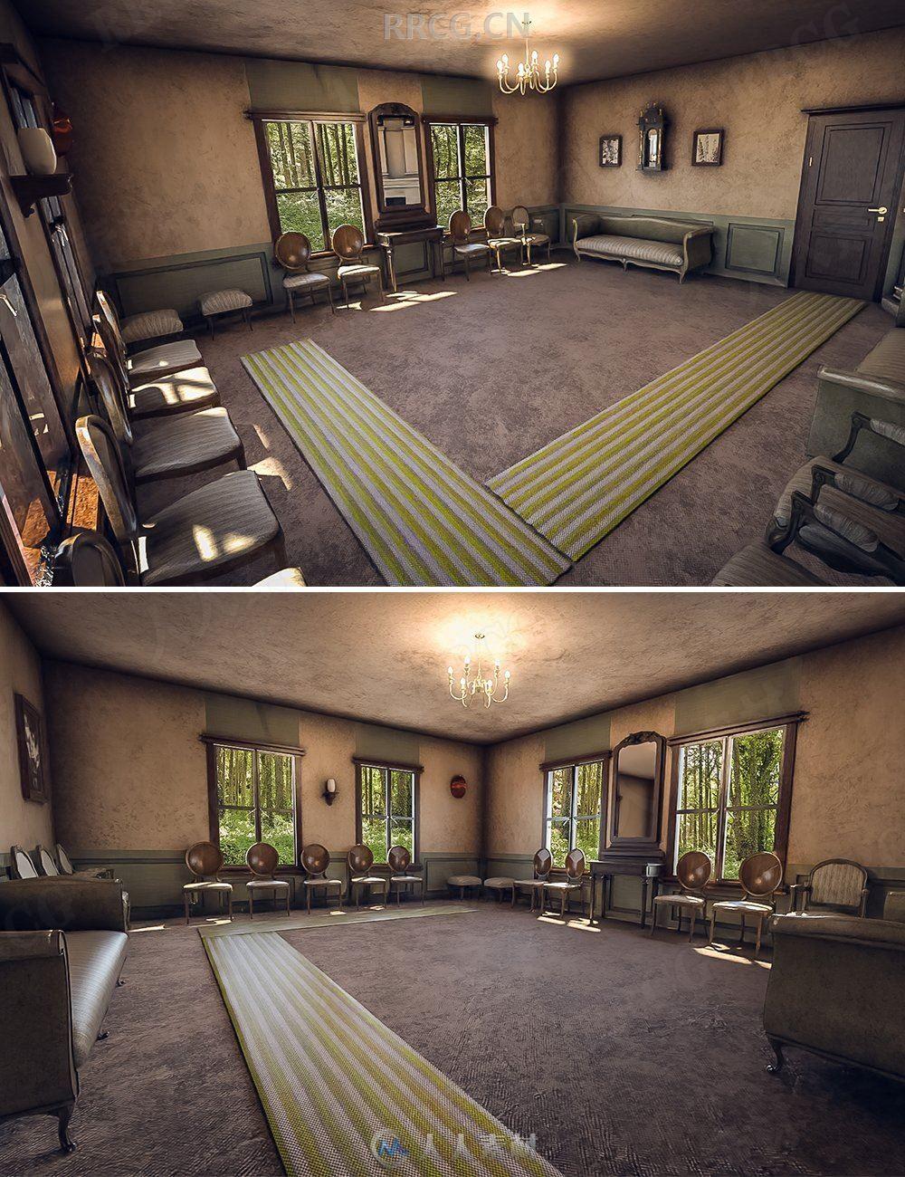 老旧庄园空旷室内中古造型设计3D模型合集