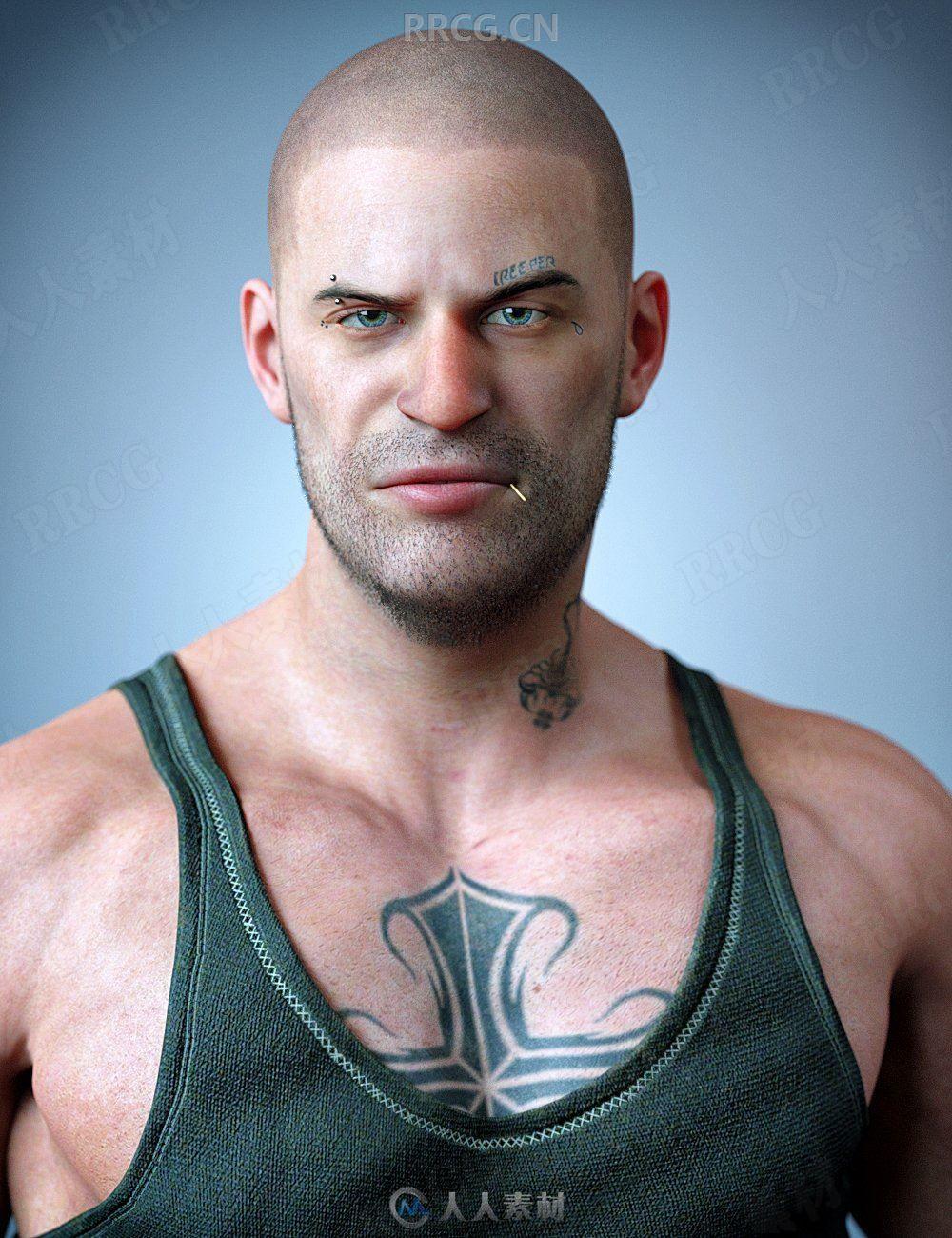 健壮年轻肌肉纹身男性3D模型合集