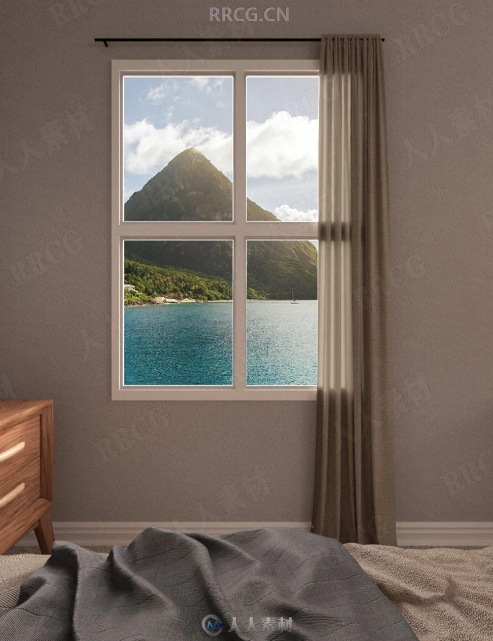 海景房窗边海滩效果平面背景3D模型合集
