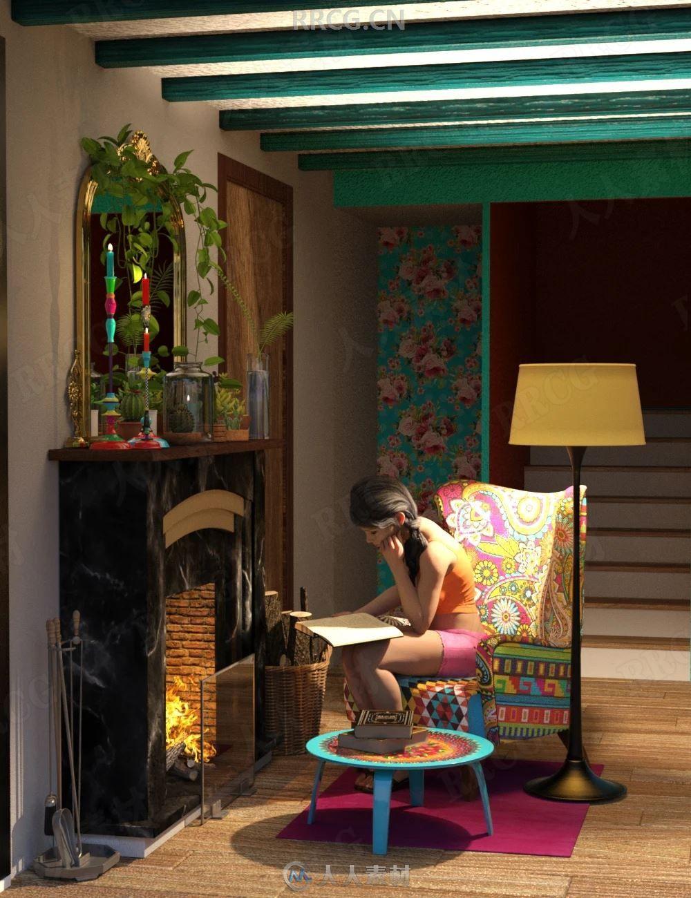 欧美风别墅壁炉室内设计3D模型合集