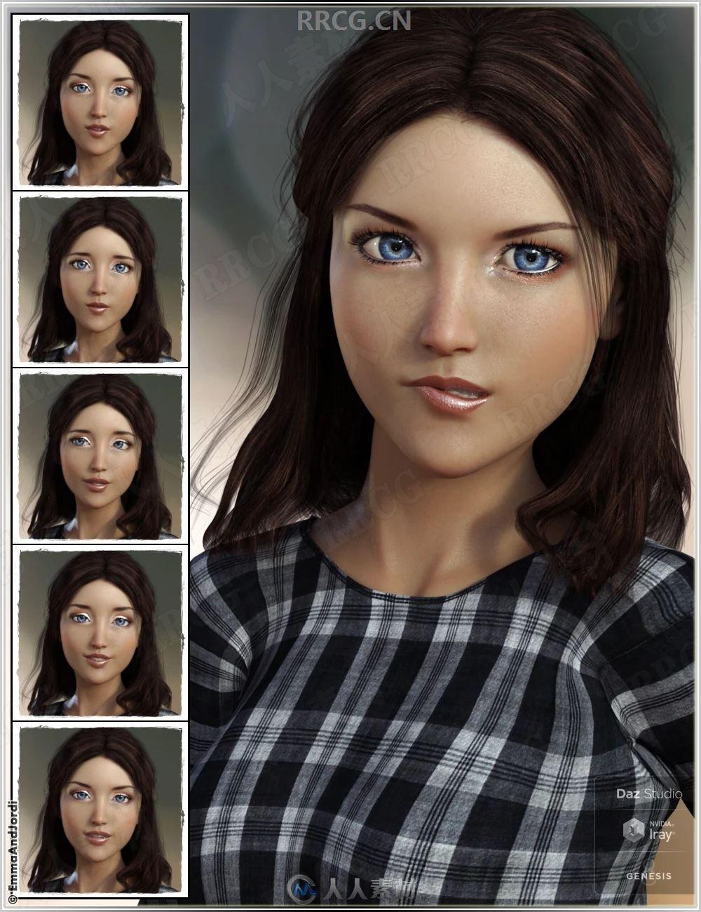 女性人物搞怪可爱表情3D模型合集