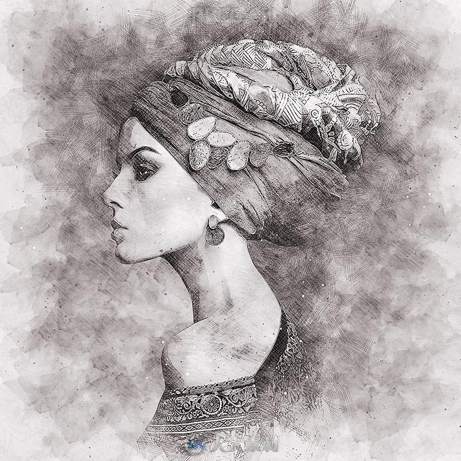 逼着写实黑白素描肖像艺术图像处理特效PS动作