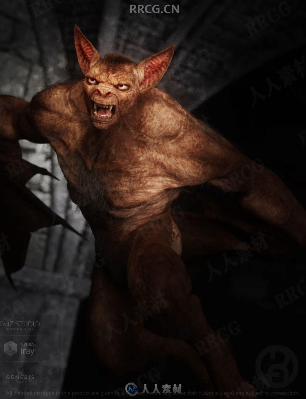 人形可怕蝙蝠怪兽3D模型合集