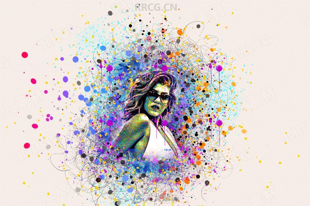 彩色颜料飞溅效果围绕人像艺术图像处理特效PS动作