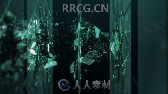 破碎玻璃效果LOGO动画演绎AE模板