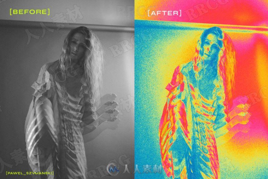 频谱抽象图像视觉效果滤镜艺术图像处理特效PS动作