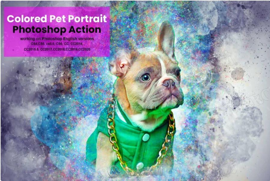 色彩缤纷背景晕染叠加宠物肖像艺术图像处理特效PS动作