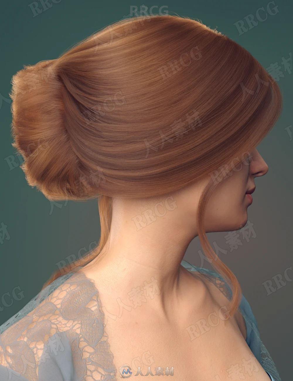 优雅时尚女性盘发发色3D模型合集