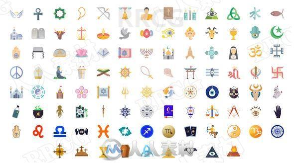 100个宗教信仰平面图标展示动画AE模板