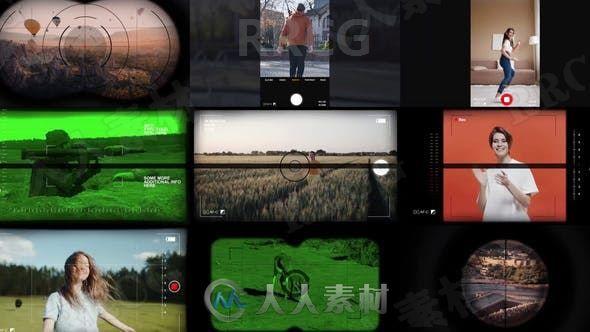 不同器材取景边框效果展示动画AE模板