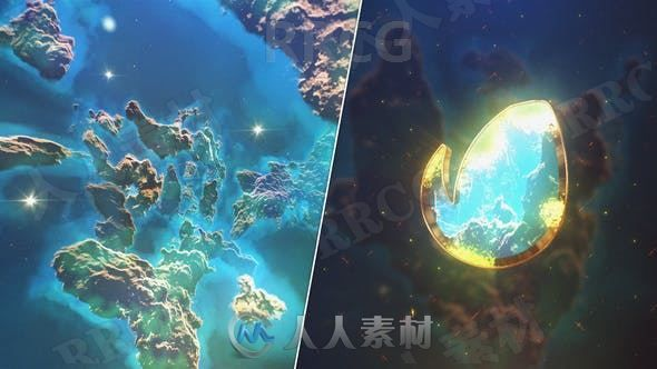 不同色彩太空陨石LOGO动画演绎AE模板