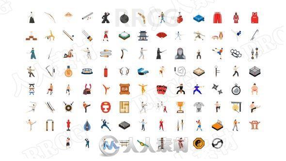 100组武术类平面图标展示动画AE模板