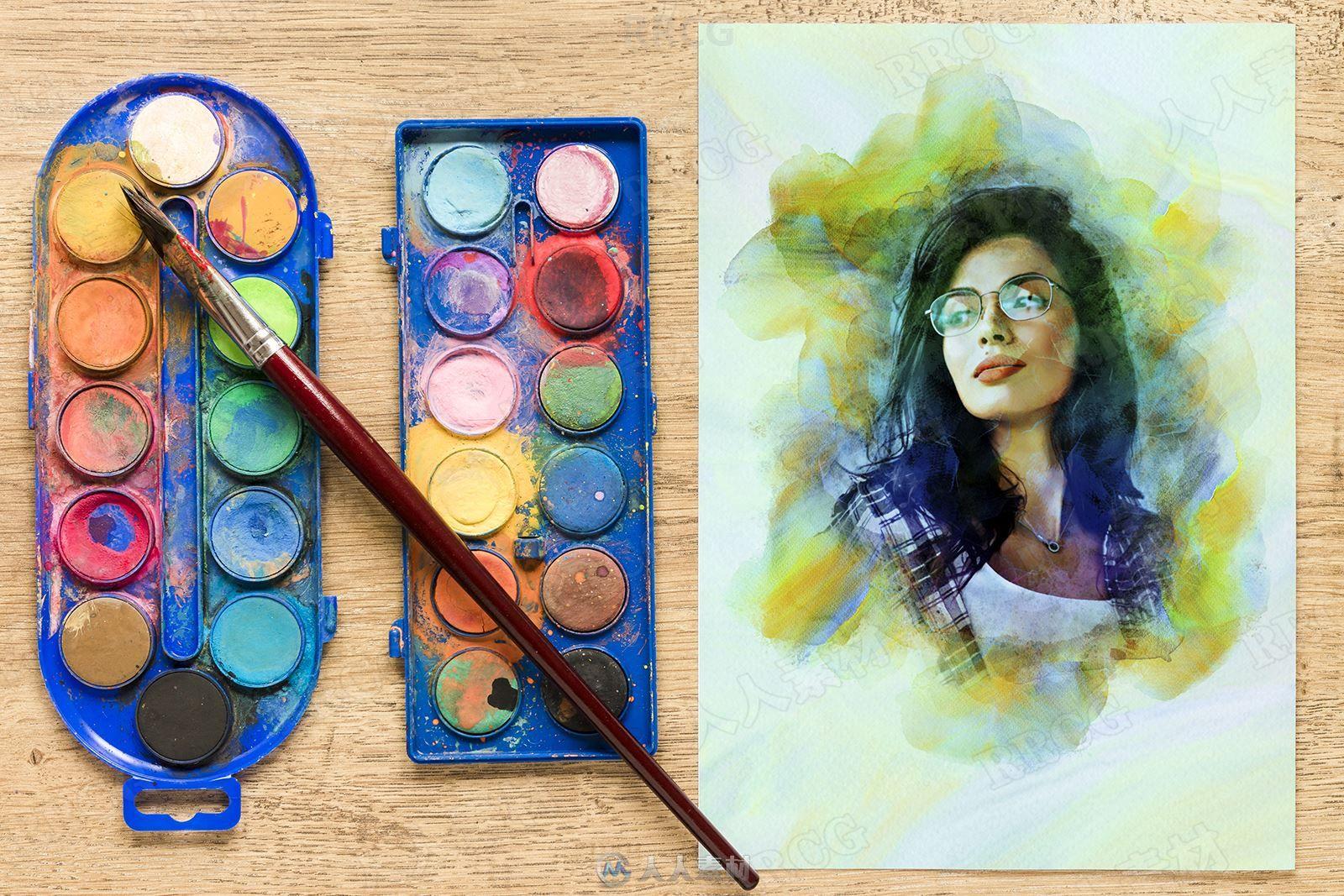 水彩画笔触围绕人像绘画效果艺术图像处理特效PS动作