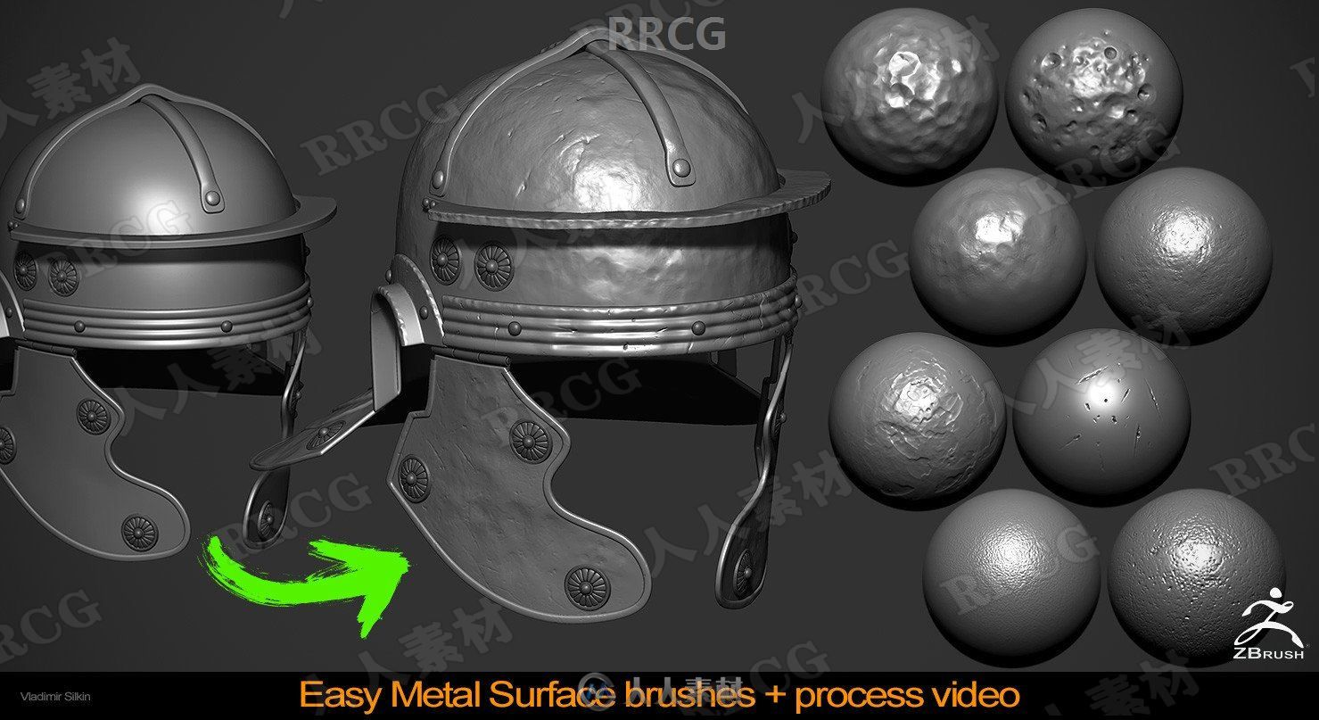 8组金属表面雕刻细节Zbrush笔刷合集 附教程