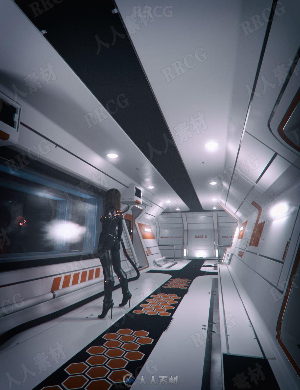 科幻太空实验室内部环境3D模型合集