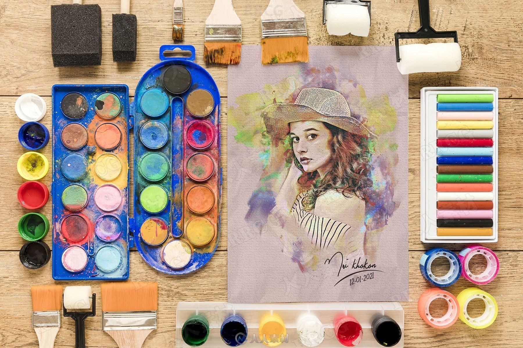 水彩画颜料覆盖效果人像艺术图像处理特效PS动作