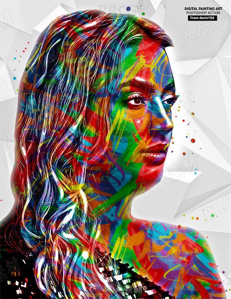 多彩色块拼接人像数字绘画艺术图像处理特效PS动作