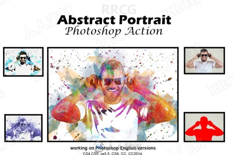 写实多彩水粉画效果人像艺术图像处理特效PS动作