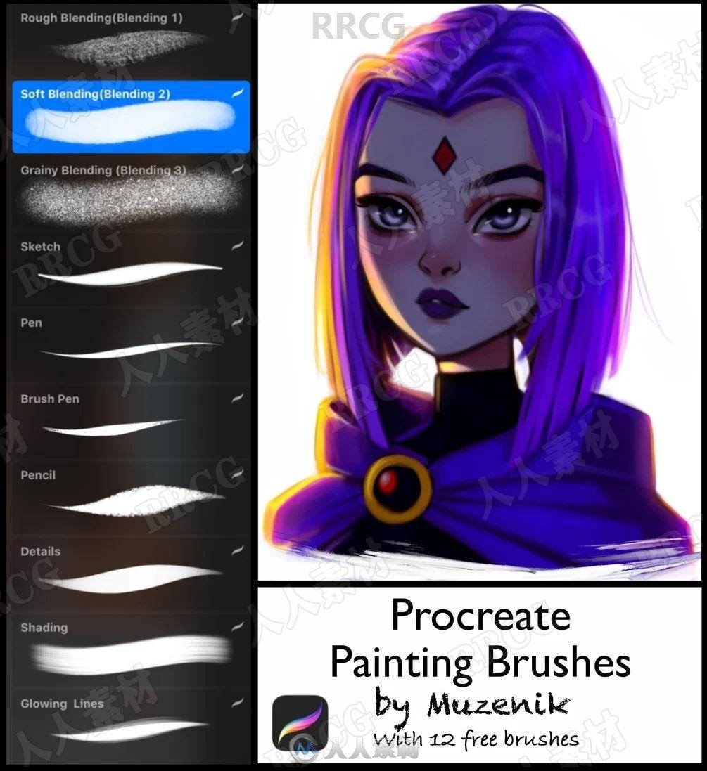 10组卡通人物角色绘画画笔Procreate笔刷合集