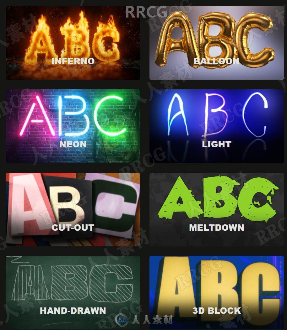 8组从A到Z英文字母和符号元素高清视频素材与AE脚本合集