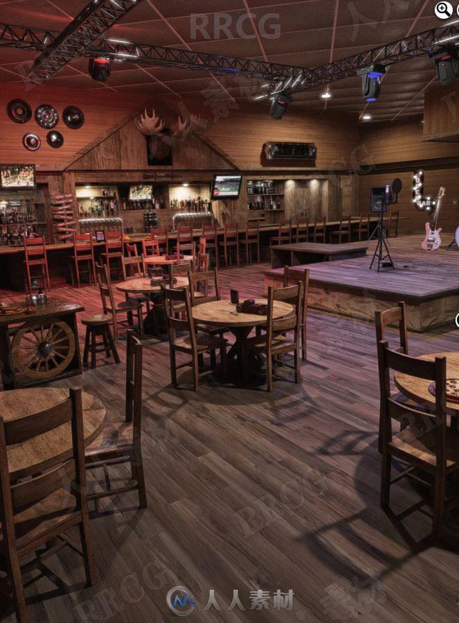 宽敞木质风格装修乐队酒吧3D模型合集