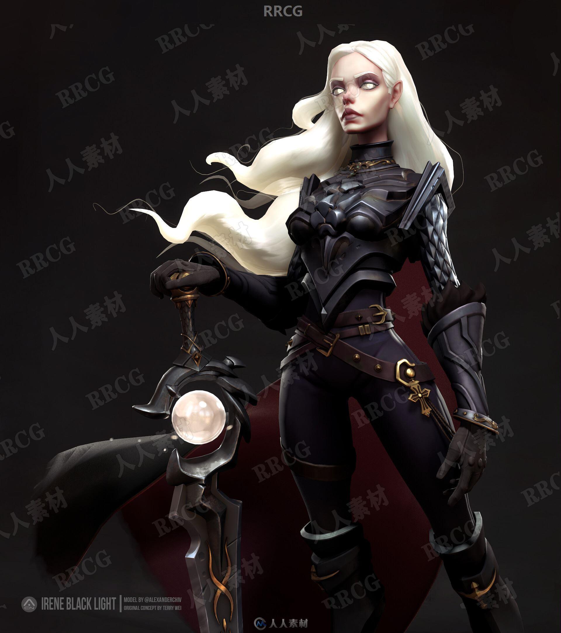 暗黑女剑士游戏角色3D模型