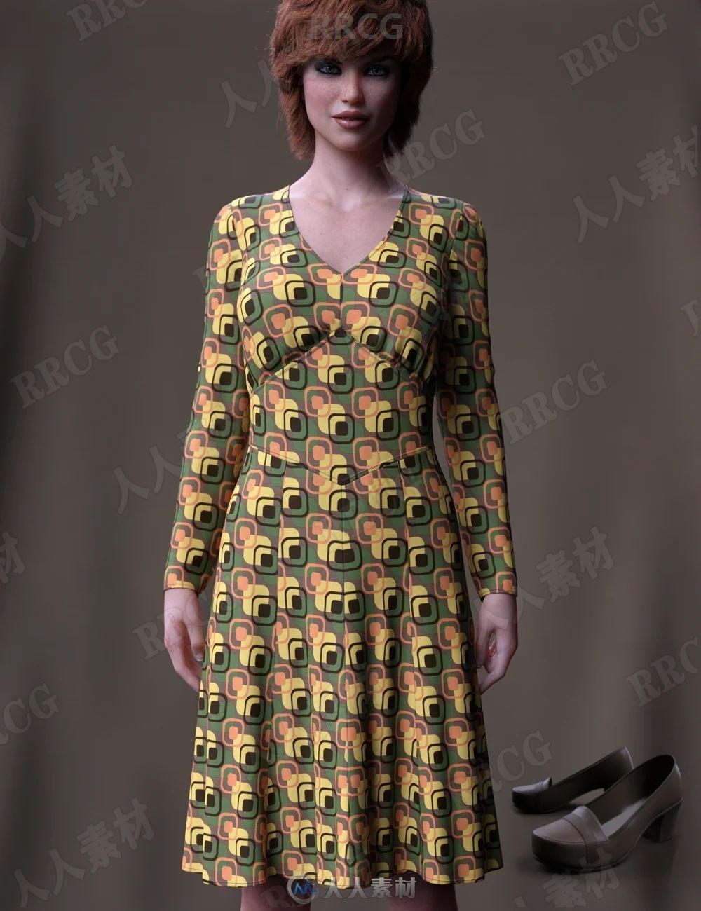春秋中年女性碎花连衣裙套装3D模型合集