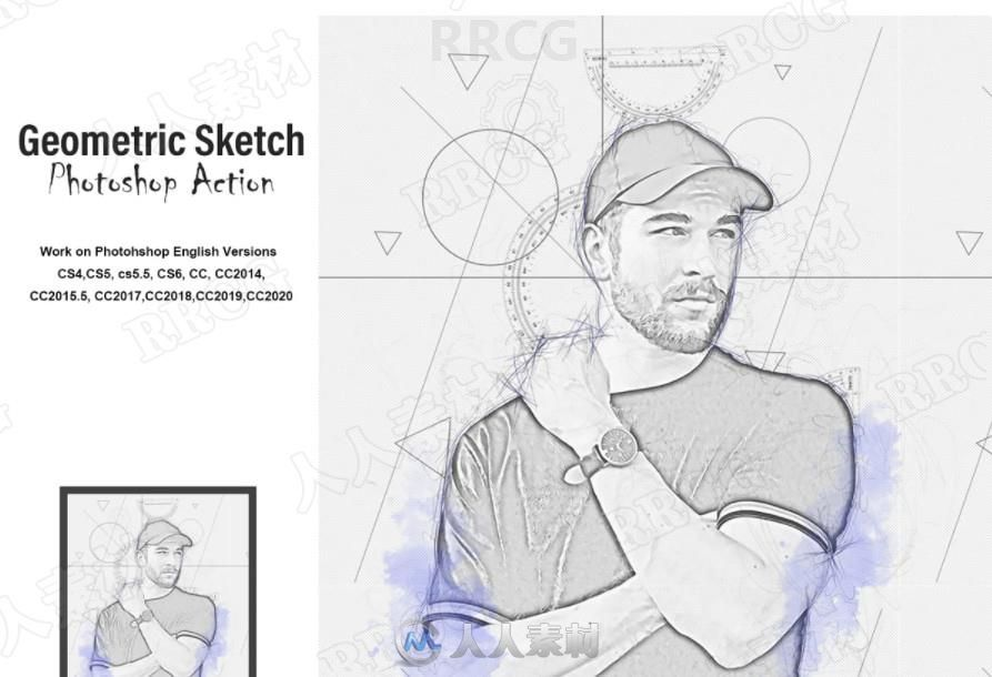 平面几何图形草图绘制人像艺术图像处理特效PS动作