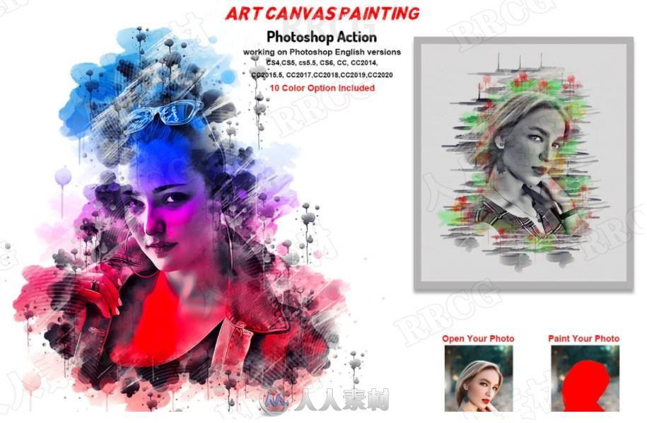 水彩画晕染笔触流淌覆盖效果人像画布艺术图像处理特效PS动作