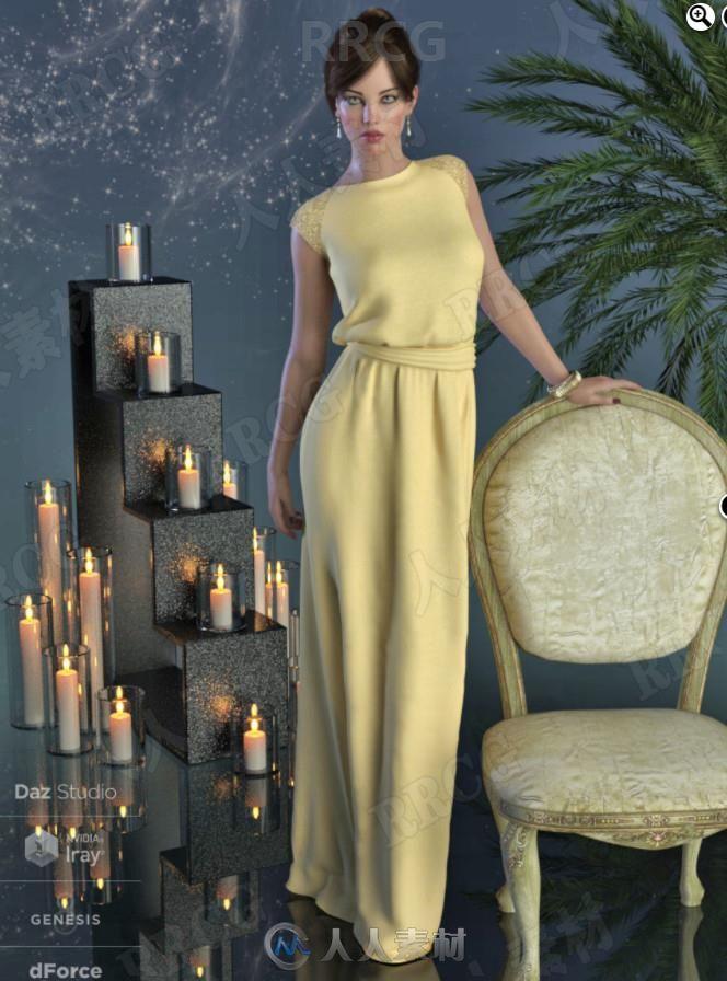 优雅华丽女性砍袖长旗袍套装3D模型合集